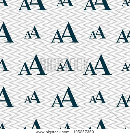 Enlarge Font, Aa Icon Sign. Seamless Abstract Background With Geometric Shapes.