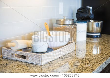 Beautiful Marble Kitchen Counter Top, Subway Tile Back splash and Baking Accessories.