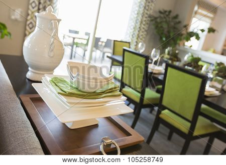 Beautiful Dining Area of Home with Apple Green Accents.
