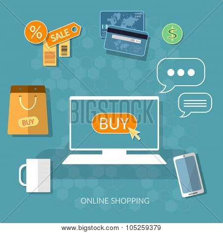 Internet Shopping Buy Now Concept Online Store E-commerce Process Of Buying Internet Vector