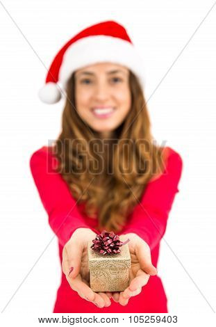 Christmas Woman Giving Golden Colored Gift Box