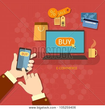 Online Shopping E-commerce Concept Coupons Sale Mobile Shopping Man Holding Smart Phone Credit Cards