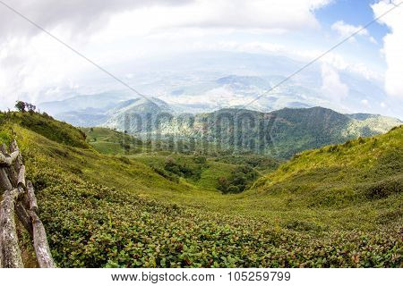 Beautiful View Of Rural Landscape Sunny Hills Under Cloudy Sky, At Doi Inthanon National Park, Chian