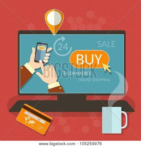 Oinline Shopping Smartphone E-commerce Men Hand Holding Modern Mobile Phone Internet Shop