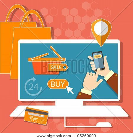 Internet Shopping Credit Or Debit Plastic Card Shopping Bags Computer Mouse Shopping Cart