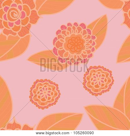 Vector Soft Pink Seamless Pattern With Doodle Orange Flowers. Pale Red Floral Background.