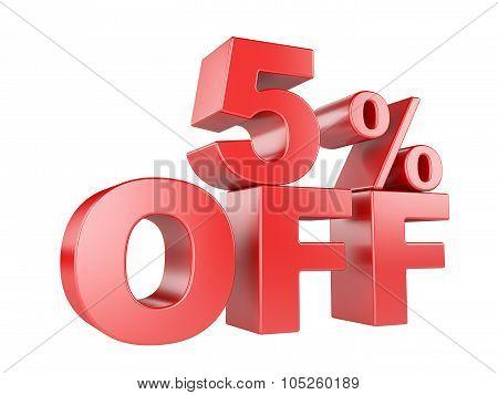 5 Percent Off 3D Icon.