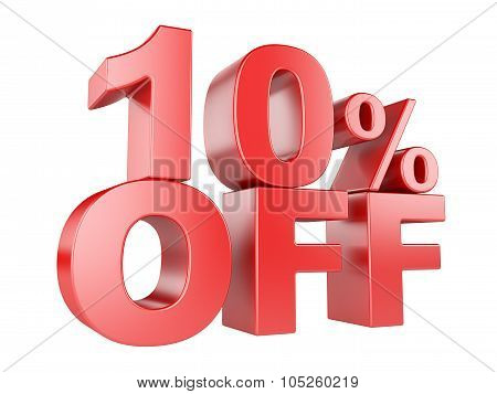 10 Percent Off 3D Icon.
