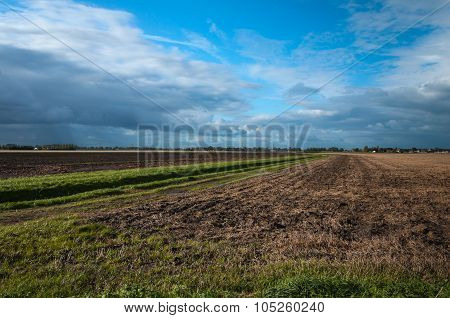 Dark Clouds Above A Rural Area