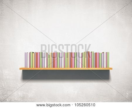 Bookshelf On A Concrete Wall