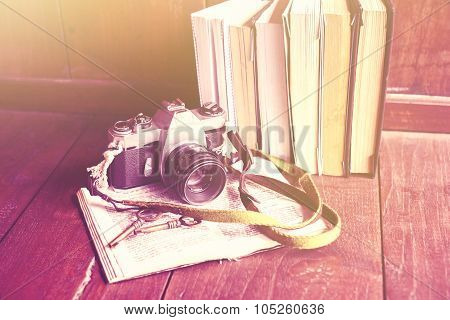 Old Photo Camera, Book And Keys
