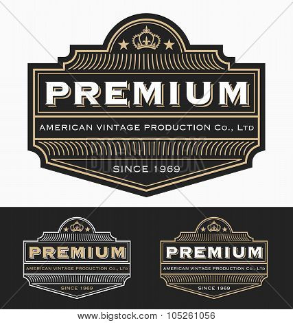 Vintage Badge Logo Label Design  For Premium Product