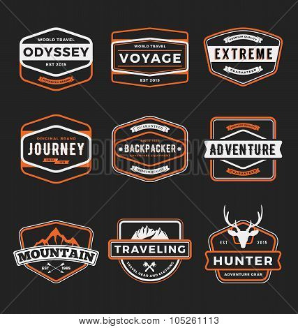 Set Of Outdoor Adventure And Traveling Gear Badge Logo, Emblem Logo, Label Design. Vector