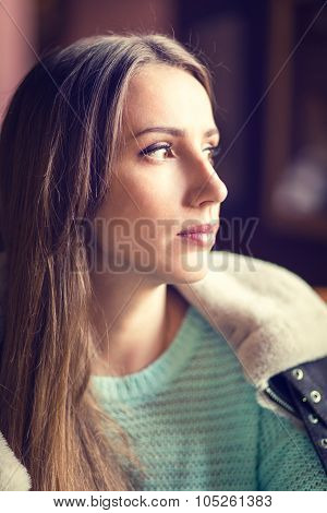 Young Caucasian Woman With Dark Hair