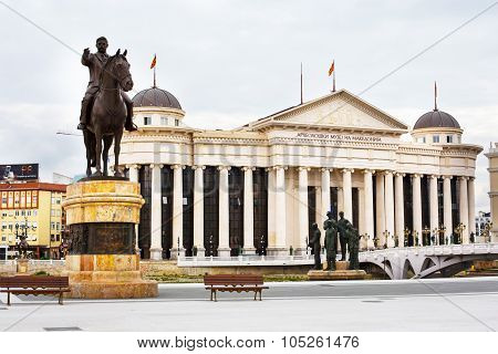 National archaeological museum and Gotse Delchev statue in the center of Skopje, Macedonia