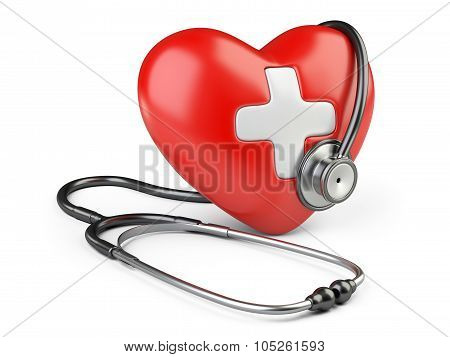 Red Heart With White Cross And A Stethoscope.