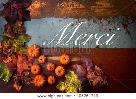 French Word 'merci' (thank You) On Wood