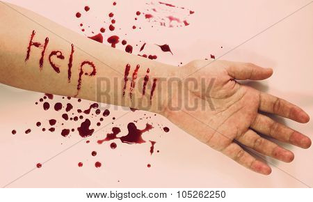 Text Help,woman Commit Suicide By Knife,vintage Style