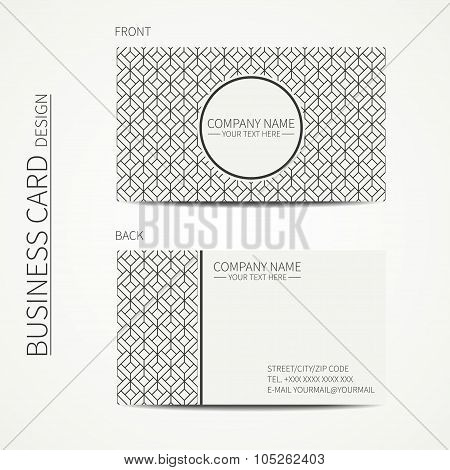 Geometric cube monochrome business card template for your design. Pattern with rhombuses, square. Op