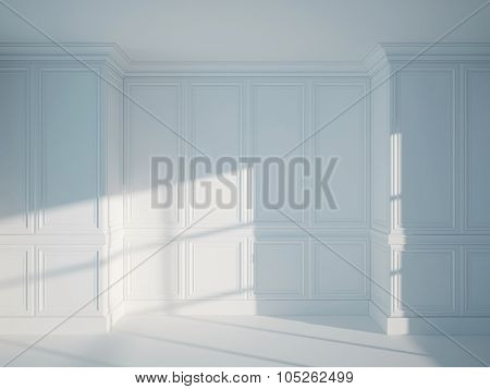 3d illustration of empty interior wall