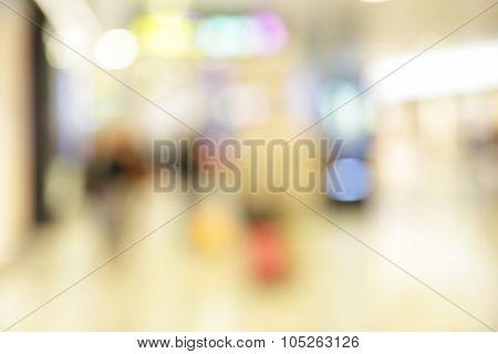 Interior of shopping center - defocused blured background