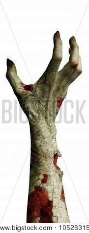 Scary Zombie Hand With Dirty Fingers Isolated On White