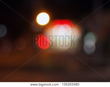 Abstract Blurred Image Of Circular Lights On The Night Road