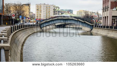 View of Bypass Canal and a pedestrian bridge in downtown Moscow, Russia