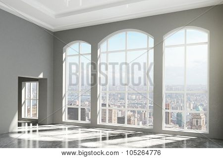 Modern Room With Windows In Floor And City View