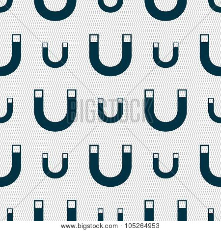 Magnet Sign Icon. Horseshoe It Symbol. Repair Sig. Seamless Abstract Background With Geometric Shape
