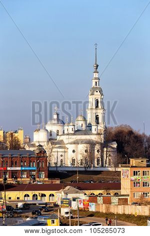 Assumption Cathedral, Trinity Cathedral And Belfry In Kineshma. Russia