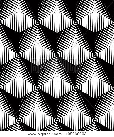Illusive Continuous Monochrome Pattern, Decorative Abstract Background With 3D Geometric Figures. Co