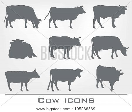 set of cow icons