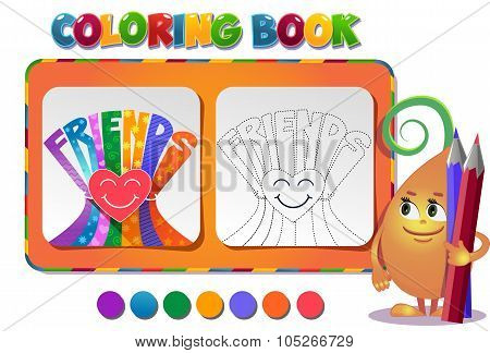Coloring Book About Friendship Day