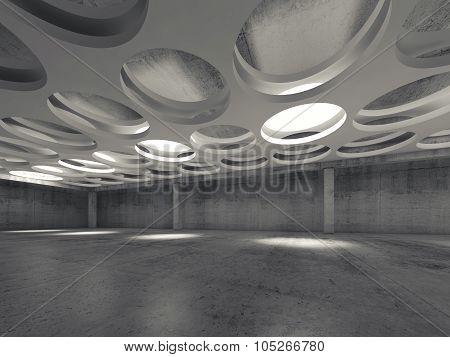 Empty Dark Concrete Hall Interior With Round Lamps