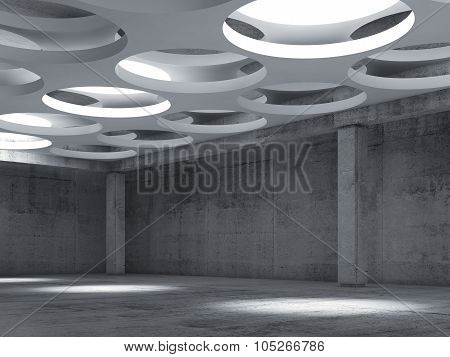 Empty Concrete Hall Interior With Big Round Lamps
