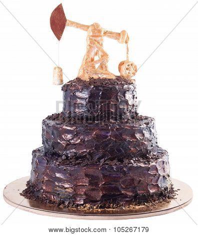Black Handmade Cake With Oil Derrick