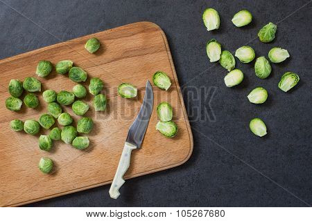 Brussels Sprouts On The Board With Knife