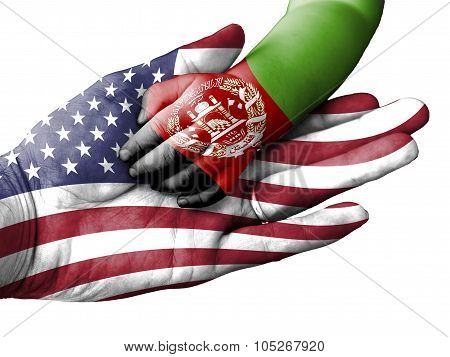 Adult Man Holding A Baby Hand With United States And Afghanistan Flags Overlaid. Isolated On White