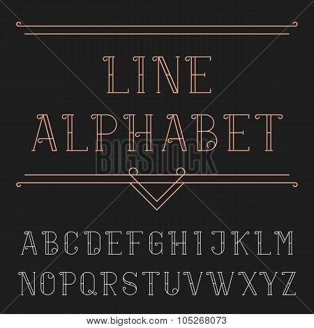 Line alphabet vector font.