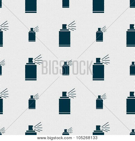 Graffiti Spray Can Sign Icon. Aerosol Paint Symbol. Seamless Abstract Background With
