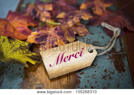 French Word 'merci' (thank You) On Wooden Tag