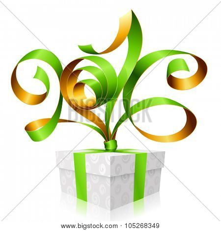 Vector green ribbon and gift box. Symbol of New Year 2016