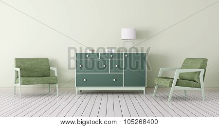 Interior With Chest Of Drawers And Armchairs 3D rendering
