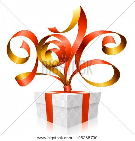 Vector red ribbon and gift box. Symbol of New Year 2016