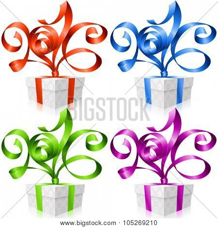 Vector set of ribbons and gift boxes. Symbol of New Year 2016