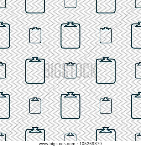 File Annex Icon. Paper Clip Symbol. Attach Sign. Seamless Abstract Background With Geometric