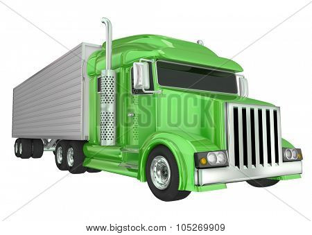 Green semi truck front angle to illustrate travel, transportation and shipping or delivery of products over the road