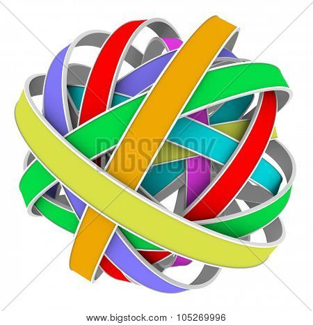 Ball or sphere of color strips in a messy tangle or bundle