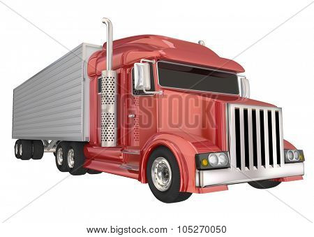 Red semi truck front angle to illustrate travel, transportation and shipping or delivery of products over the road